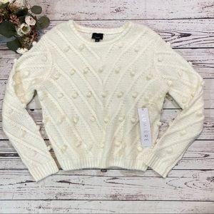 Lumiere Pom Pom ball knit sweater NWT